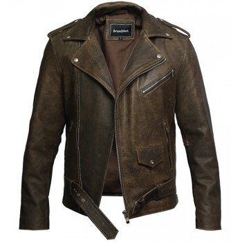 Mens Genuine Leather Biker Jacket Cowhide Brando Rustic
