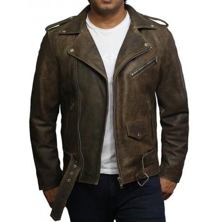 Mens Genuine Leather Biker Jacket Cowhide Brando Rustic