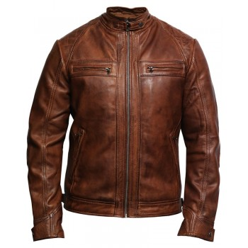 Men's Genuine Leather Biker Jacket Waxed Brando