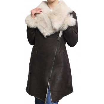 Women Genuine Sheepskin Leather Spanish Merino Trench Coat