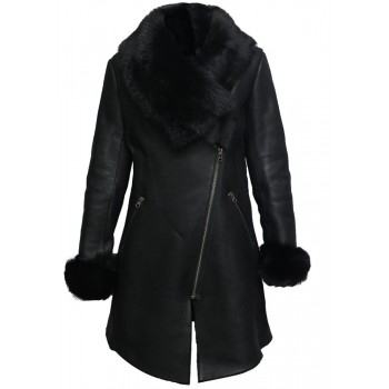 Women Genuine Sheepskin Leather Spanish Merino Coat