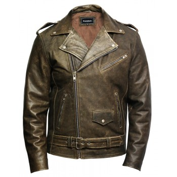 Men's Genuine Leather Biker Jacket Cowhide Brando Rustic