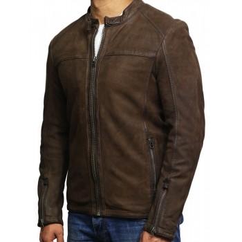 Men's Genuine Leather Biker Jacket Suede