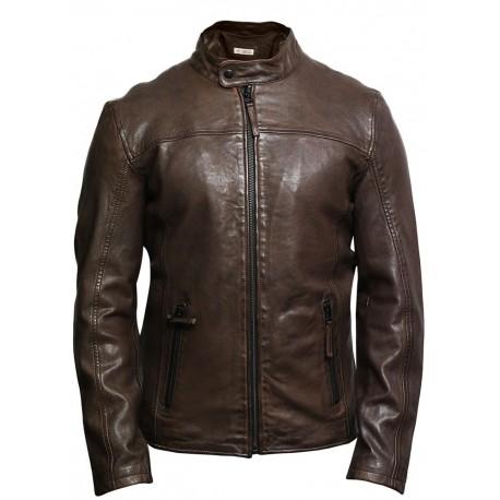 e00760dcbe7 Brandslock Mens Genuine Leather Biker Jacket Black Waxed Slim Fit ...