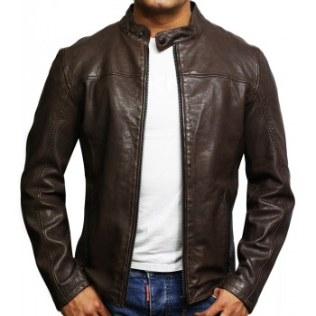 Mens Genuine Leather Biker Jacket Black Waxed Slim Fit Distressed