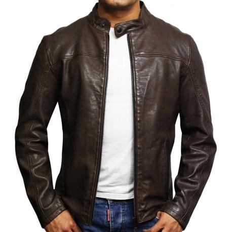 Mens Genuine Leather Biker Jacket Black Waxed Slim Fit Distressed