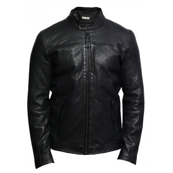 Mens Genuine Leather Biker Jacket Waxed Slim Fit Distressed