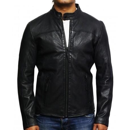 Mens Genuine Leather Biker Jacket Waxed Slim Fit Distressed