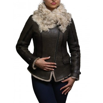 Womens Spanish Merino Genuine Shearling Sheepskin Leather Fur Flying Jacket
