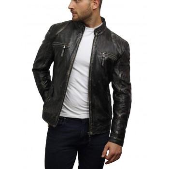 Mens Black  Original Leather Biker Waxed Distressed Jacket
