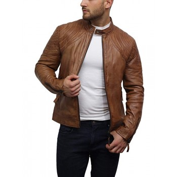 Mens Stylish Real Leather Racer Distressed Jacket