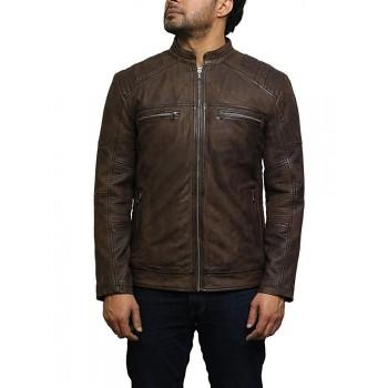 Mens Genuine Leather Biker Jacket Smart Casual Style