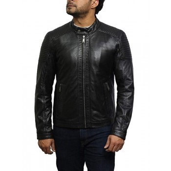 Mens Genuine Leather Biker Jacket Smart Casual Style