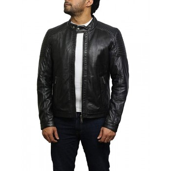 Mens Real Leather Biker Elegant Casual Style Jacket