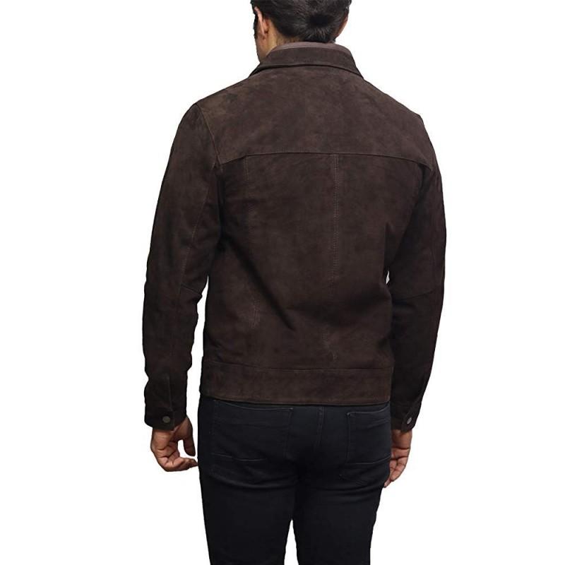 BRANDSLOCK Mens Leather Jacket Genuine Superior Goat Suede Harrington Style