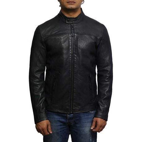 Mens Leather Jacket Genuine Lambskin Waxed Distressed Vintage Retro