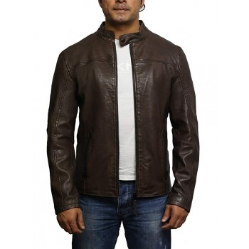 Alvin New Slim Body Fit Mens Gents Burgundy Designer Casual Leather Biker Jacket
