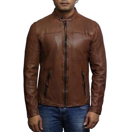Brandslock Mens Leather Jacket Genuine Biker Zipper Jacket Vintage Retro