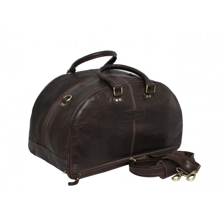 Genuine Leather Travel Duffle Bag (Brown)