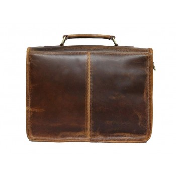 Unisex Genuine Leather Laptop Messenger Shoulder Bag Briefcase Style (Dark Tan)