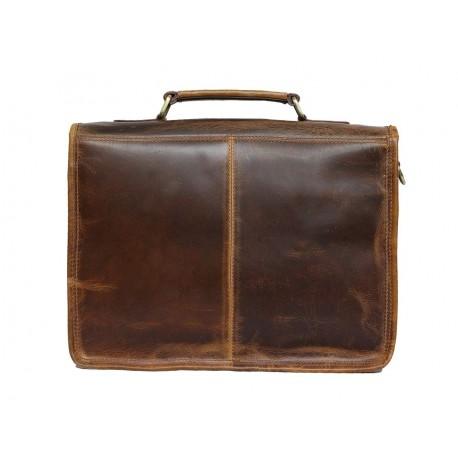 Unisex Genuine Leather Laptop Messenger Shoulder Bag Briefcase Style (Dark Tan)