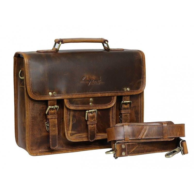 Unisex Smart Leather Shoulder Laptop Office Messenger