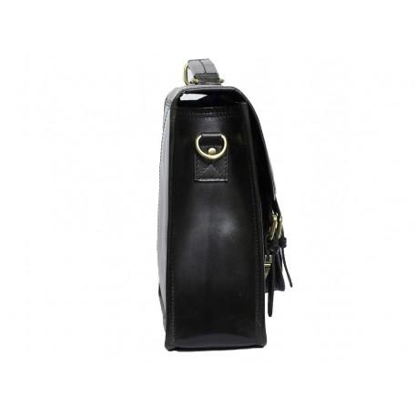Unisex Genuine Leather Laptop Messenger Shoulder Bag Briefcase Style (Black)