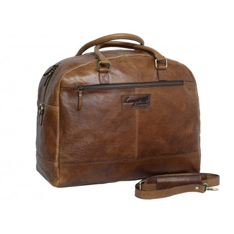 Genuine Leather Travel Overnight Duffel Bag (Tan)