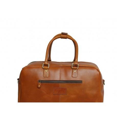 Genuine Leather Travel Overnight Duffel Bag (Tan)