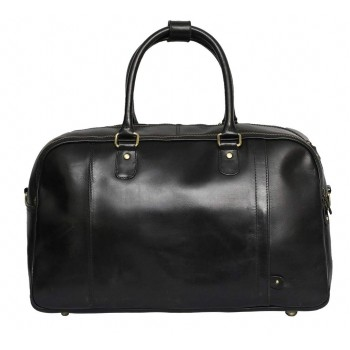 Genuine Leather Travel Overnight Duffel Bag (Black)