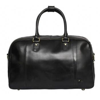 Genuine Leather Travel Overnight Duffel Bag (Black)