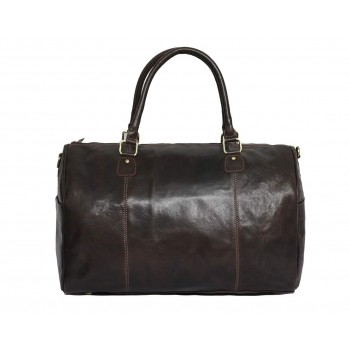 Genuine Leather Travel Overnight Duffel Bag (Brown)
