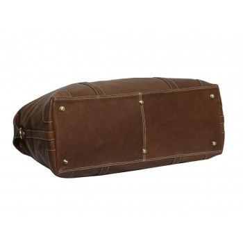 Genuine Leather Travel Duffle Bag (Tan)
