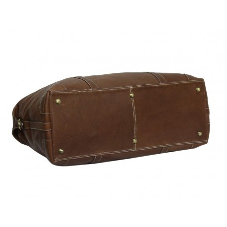 Genuine Leather Travel Duffle Bag (Tan)
