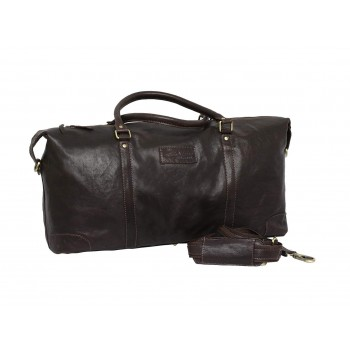 Genuine Leather Travel Duffle Bag (Brown)
