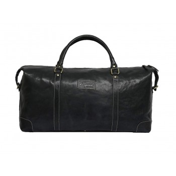 Genuine Leather Travel Duffle Bag (Black)