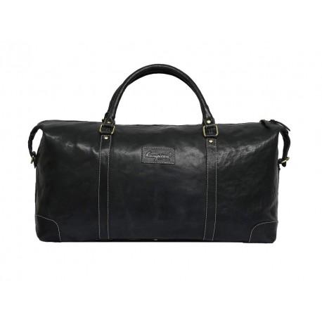 Genuine Leather Travel Duffle Bag (Black)