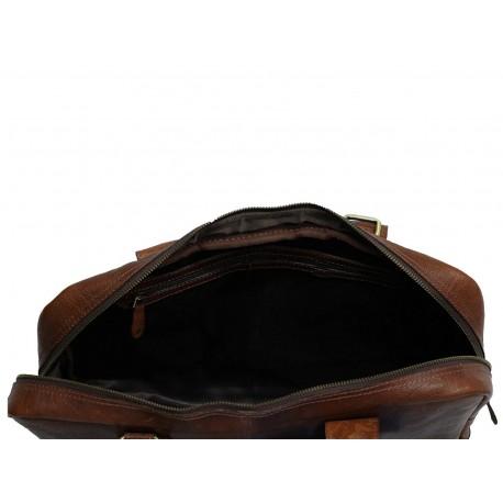 Unisex Genuine Leather Laptop Messenger Handbag Business Briefcase