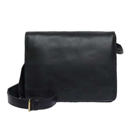 Unisex Genuine Leather Laptop Messenger Shoulder Bag Multi-Functional Style