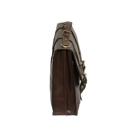 Unisex Genuine Leather Laptop Messenger Shoulder Bag