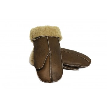 Unisex Soft Thick 100% Cream Fur Sheepskin Leather Mittens Ideal For Winter