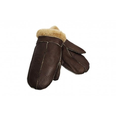 Unisex Soft Thick 100% Sheepskin Leather Ginger Fur Mittens Ideal For Winter