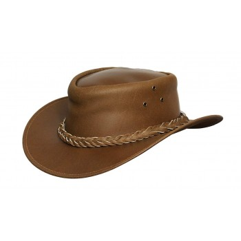 Mens Tan Vintage Wide Brim Cowboy Aussie Style Western Bush Hat Vintage