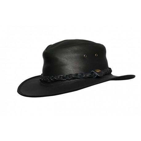 Mens Black Vintage Wide Brim Cowboy Aussie Style Western Bush Hat Vintage