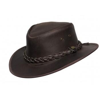 Mens Brown Vintage Wide Brim Cowboy Aussie Style Western Bush Hat Vintage
