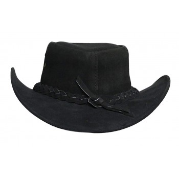 Mens Black Australian Leather Original Cowboy Aussie Bush Hat