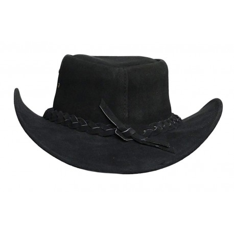 Mens Black Australian Leather Original Cowboy Aussie Bush Hat