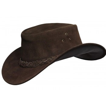 Mens Brown Australian Leather Original Cowboy Aussie Bush Hat