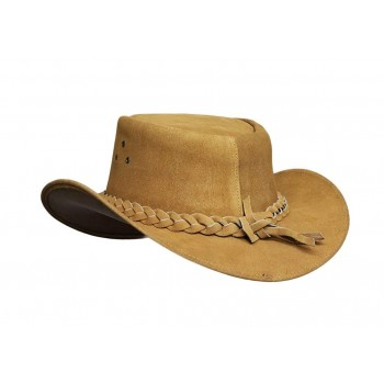 Mens Camel Australian Leather Original Cowboy Aussie Bush Hat