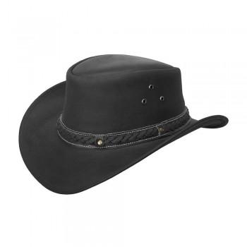 Mens Vintage Black Wide Brim Cowboy Aussie Style Western Bush Hat